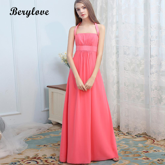 BeryLove Long Water Melon Red Evening Dresses 2018 Halter Chiffon Prom  Dresses Special Occasion Dresses Formal Party Dress Gowns d7c9fa348e09