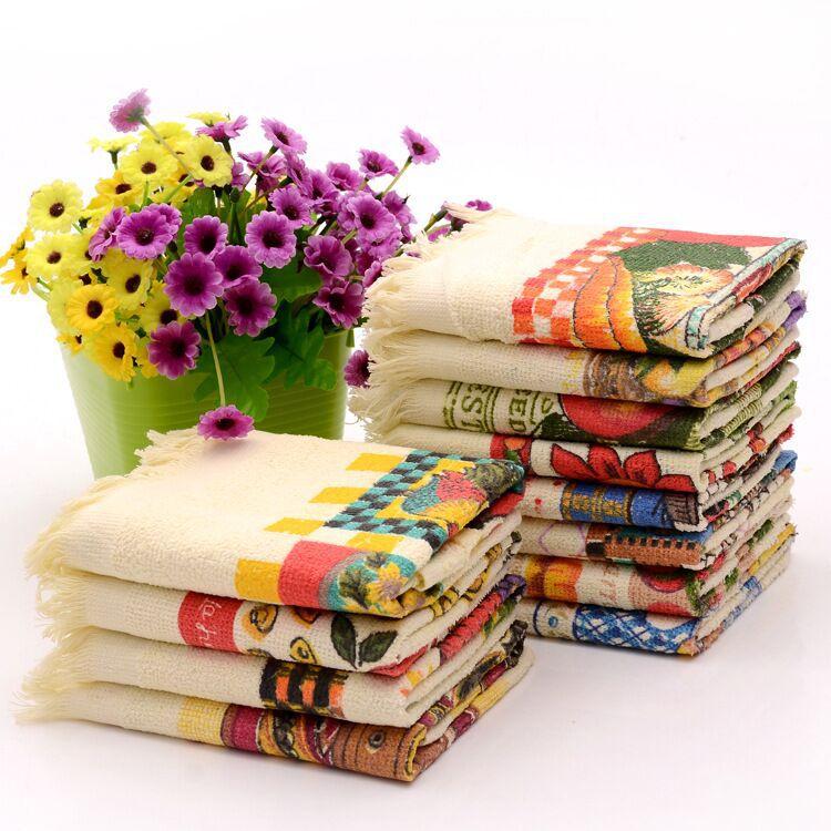 Cheap Kitchen Hand Towels Set Printed Dish Cloth Tea Towel