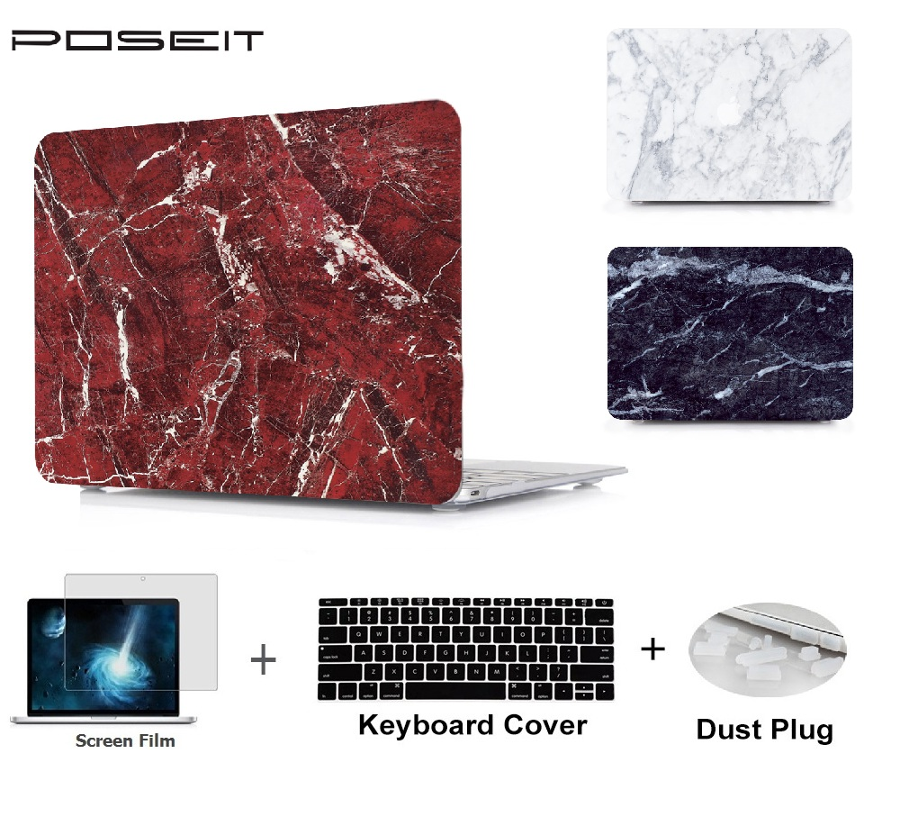 Plastic marble Hard Case Cover Laptop Shell+Keyboard Cover+<font><b>Screen</b></font> Film+Dust Plug For Macbook Air Pro Retina Touch Bar 11 to 15