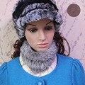 Venta caliente de la Venda de Las Mujeres Bufandas de Piel de Conejo de Piel Hecho Punto Elástico Natural Naturales Femeninos Sombreros De Piel Las Mujeres de Piel de Abrigos de La Bufanda