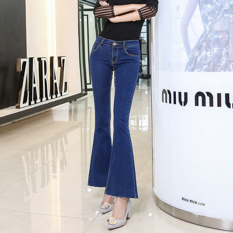 ФОТО Korean Retro High Waist Female Blue Ankle Length Jeans Wide Leg Flare Pants  AD9596