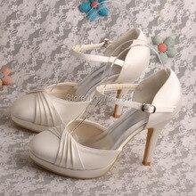 (20สี) Wedopusที่กำหนดเองเจ้าสาวชุดสีฟ้าซาตินรองเท้าที่มีส้นเท้ารองเท้าปิดนิ้วเท้า