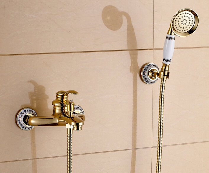 fashion Europe style high quality brass gold wall mounted bath and shower faucet exposed B&S faucet set high quality europe style brass material