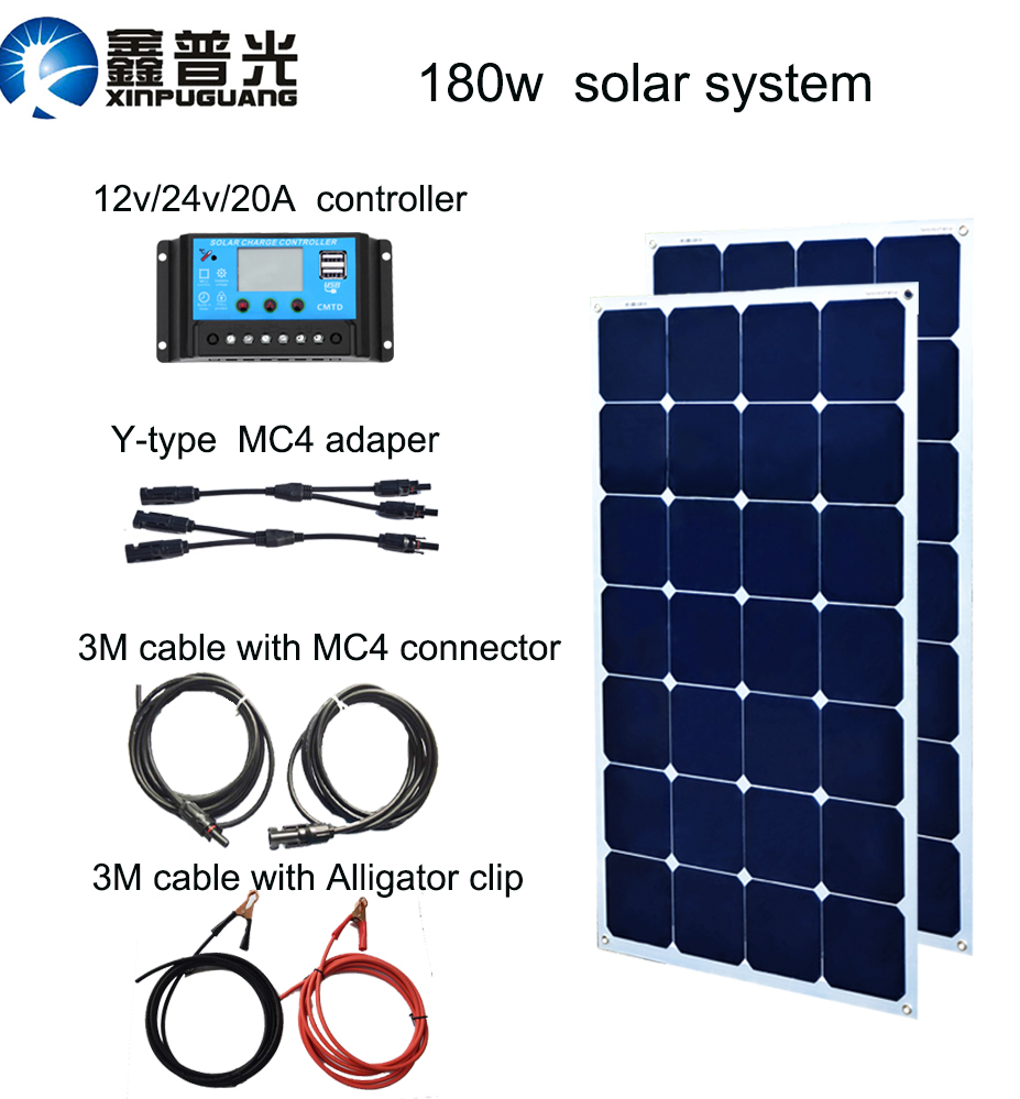 цена на 180w solar system 90w solar panel cell module 20A solar Controller cable MC4 connector for 12v battery RV yacht car