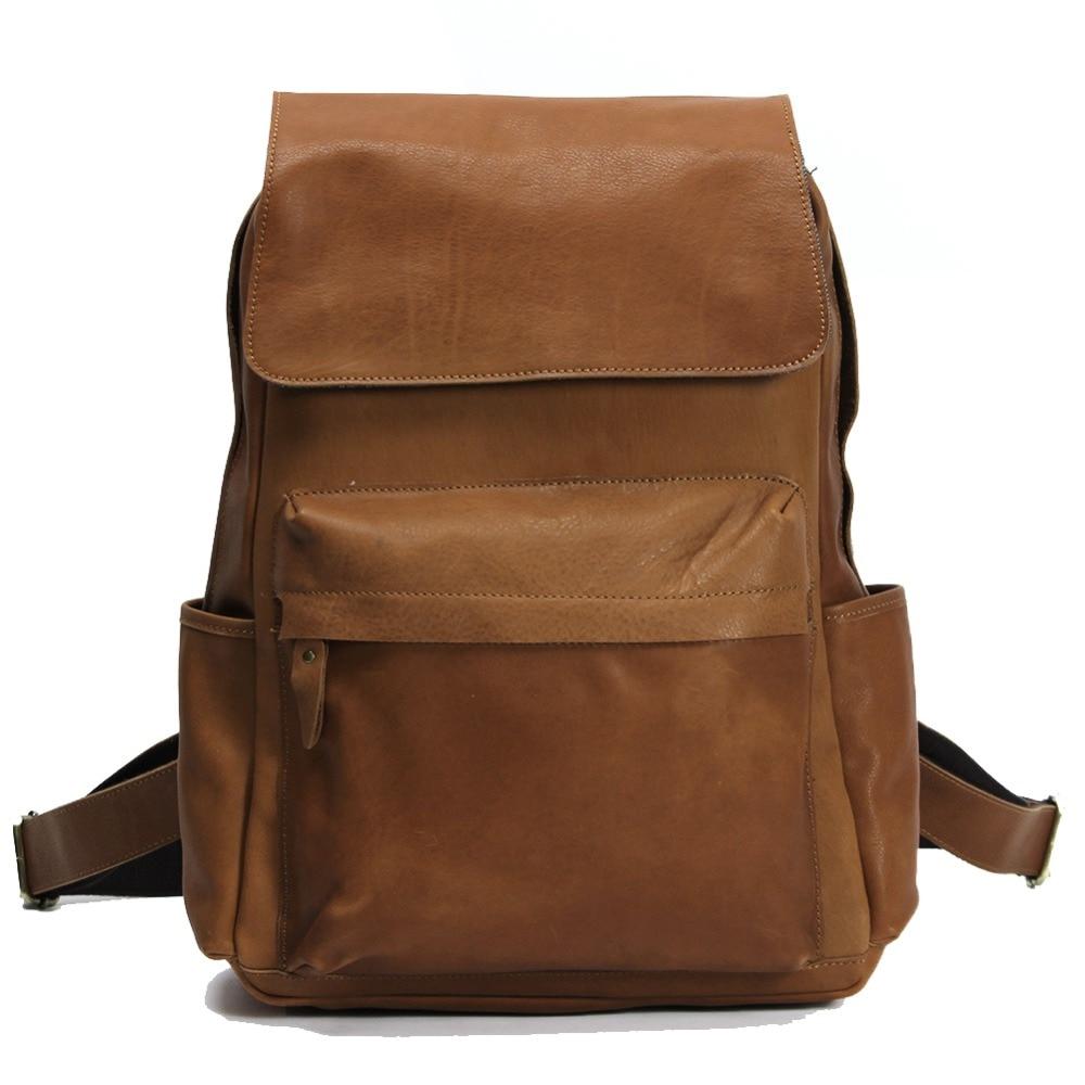 Vintage Style Genuine Cowhide Leather School Shoulder Bag Backpack Casual Travel Bag Laptop iPad Bag Pack LD032 hot sale women s backpack the oil wax of cowhide leather backpack women casual gentlewoman small bags genuine leather school bag