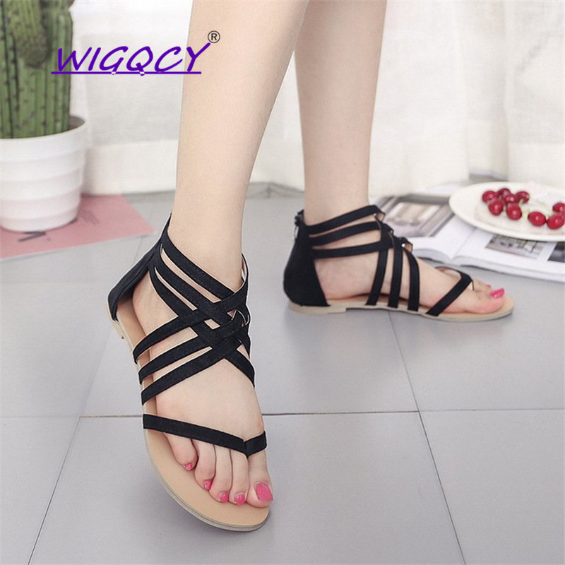 Suede Riband Gladiator Pinch flat sandals women 2019 Summer shoes women European American Hollow Zipper Large Size female shoes in Women 39 s Sandals from Shoes