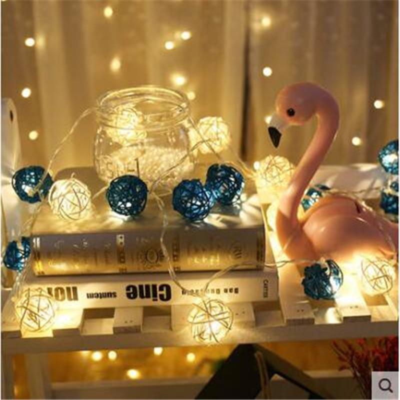 28pcs/set Light Blue-White Rattan Balls Christmas Lights String Flasher LED Garlands Holiday Party Wedding Kids Room Decoration