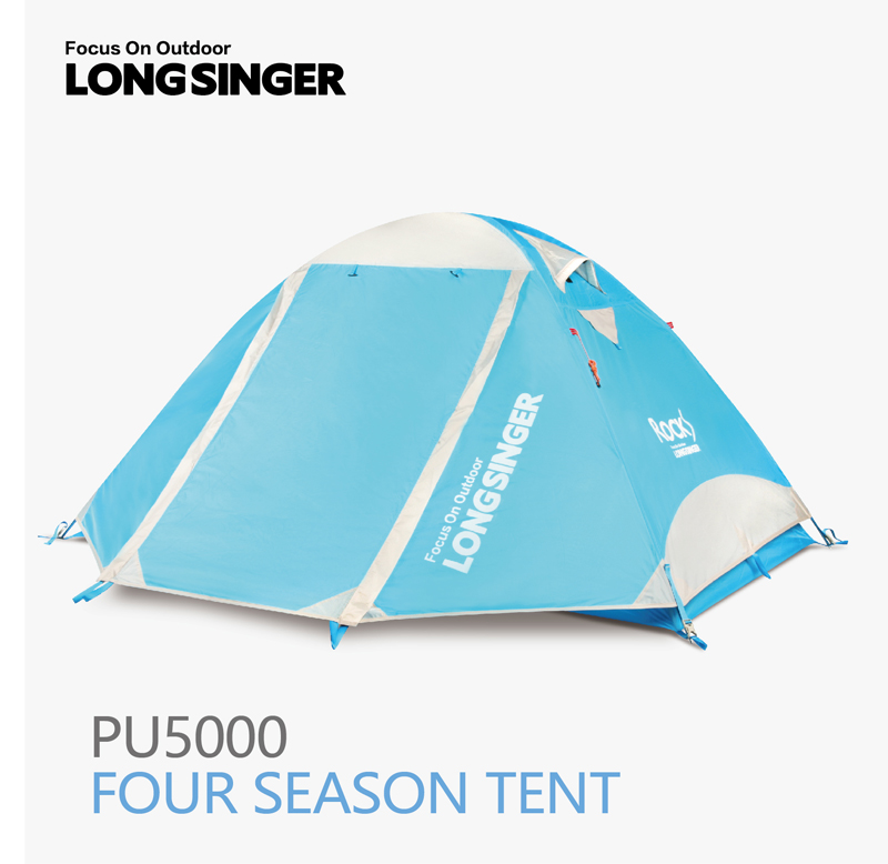 Ultra-léger double couche aluminium tige professionnelle en plein air camping randonnée tente quatre saisons
