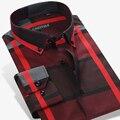 Британский Стиль Хлопок Плед Рубашку Мужчины С Длинным Рукавом Рубашка Slim Fit Известный Бренд Мужской Моды Случайные Осень Vestidos Плюс 4XL