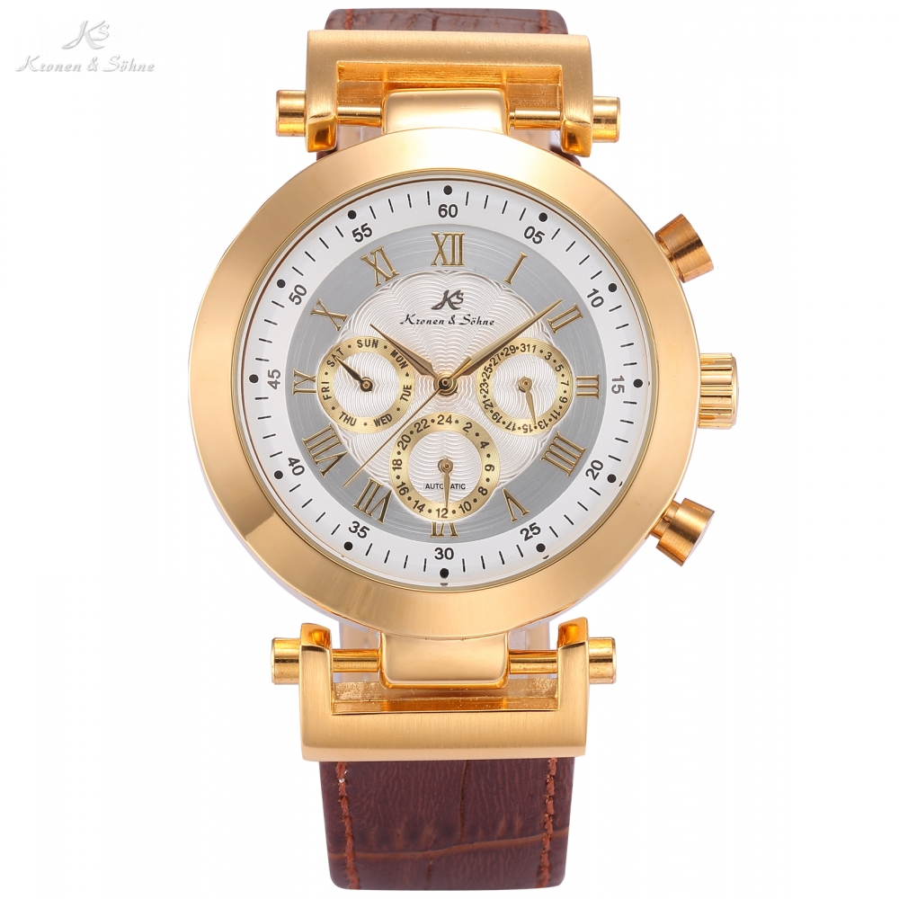 KS Luxury Brand Self Wind Wristwatch Gold Case 3 Dial Date Day Steel Strap Clock Mechanical Automatic Men Dress Watch / KS280 ks navigator series auto date day month display male leather strap clock white wristwatch men automatic mechanical watch ks178