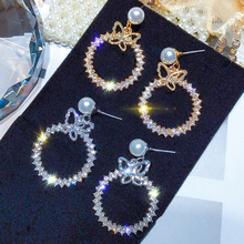 DREJEW Butterfly Circle Pearl Gold Silver Rhinestone Statement Earrings Sets 925 Drop Earrings for Women Wedding Jewelry HE018 a suit of graceful rhinestone butterfly earrings for women