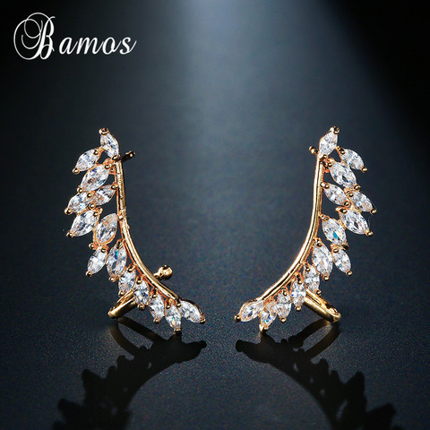 Bamos New Unique Design Silver/Yellow/Rose Gold Filled Double Wings Stud Earrings For Women Sparkling White AAA Zircon Earrings Islamabad