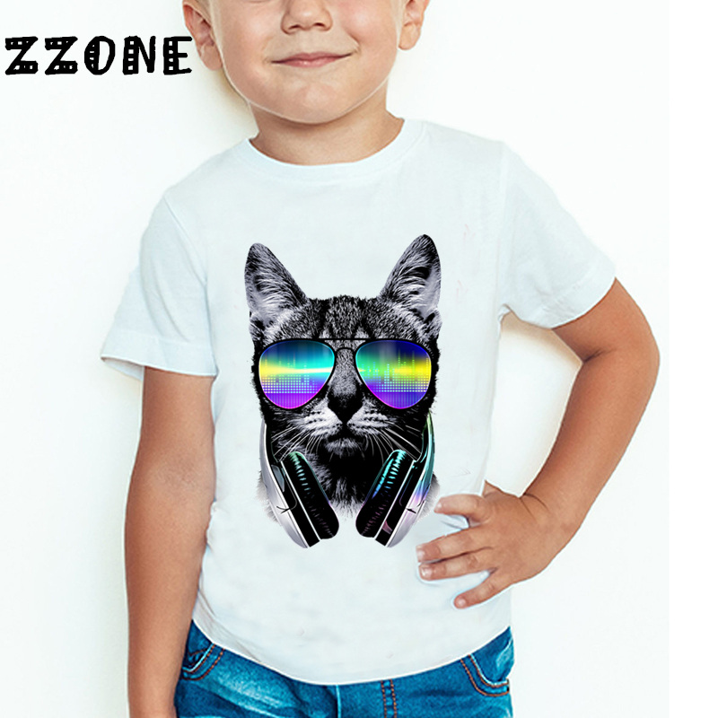 Children Cool DJ Cat/Pug/Panda Funny T-shirt Kids Short Sleeve Summer Tops Baby Girls Boys Casual T shirt,HKP129 2016 summer boys short sleeved t shirt two piece children s sports suit camouflage uniforms boys