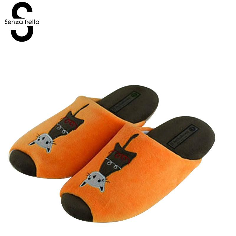 Senza Fretta Indoor Cartoon Warm Slippers Couple Non-slip Cotton Slippers Soft Bottom Floor Soft Slippers Women Cartoon Shoes women floral home slippers cartoon flower home shoes non slip soft hemp slippers indoor bedroom loves couple floor shoes