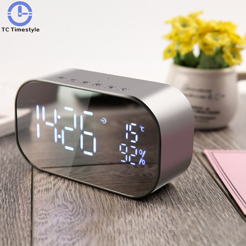 Современные Дизайн зеркало цифровой Будильник FM радио с Беспроводной Bluetooth Динамик сабвуфер светодиодный Время Дисплей часы