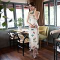 Новый Приход Белых женщин Атласная Длинные Cheongsam Моды Китайский Стиль Платье элегантный Тонкий Qipao Размер S M L XL XXL XXXL 342577