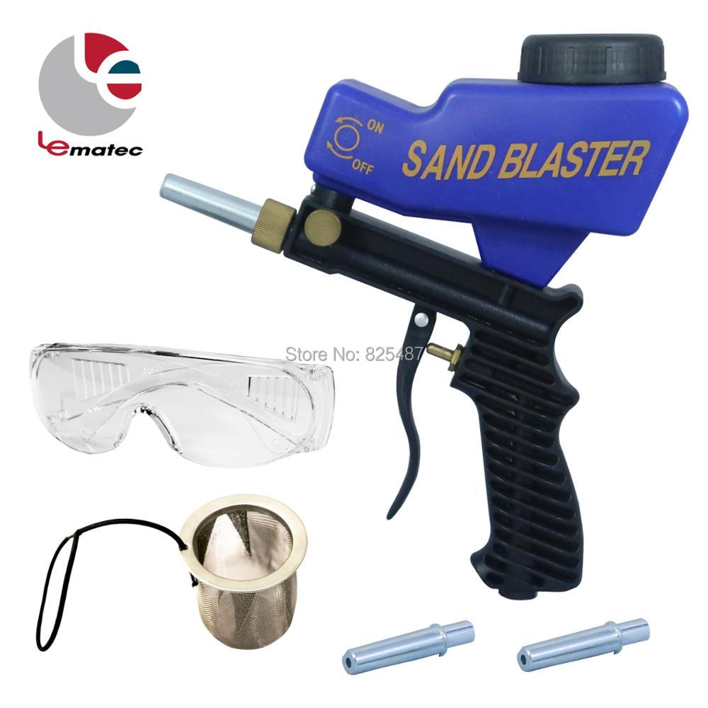 LEMATEC Gravity Feed Sandblasting Gun With Safety Glasses & Two Nozzle Air Sandblast Speed Blaster Sand Spray Gun Sandblaster