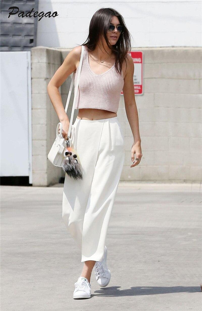 AEL Fashion White Chiffon Broad Leg Pants 2017 Summer Casual Clothes Women