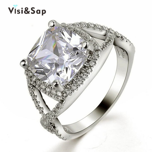 Visisap 6ct Large Square White Gold color Ring Vintage engagement Wedding Rings For Women fashion Jewelry Dropshipping VSR164