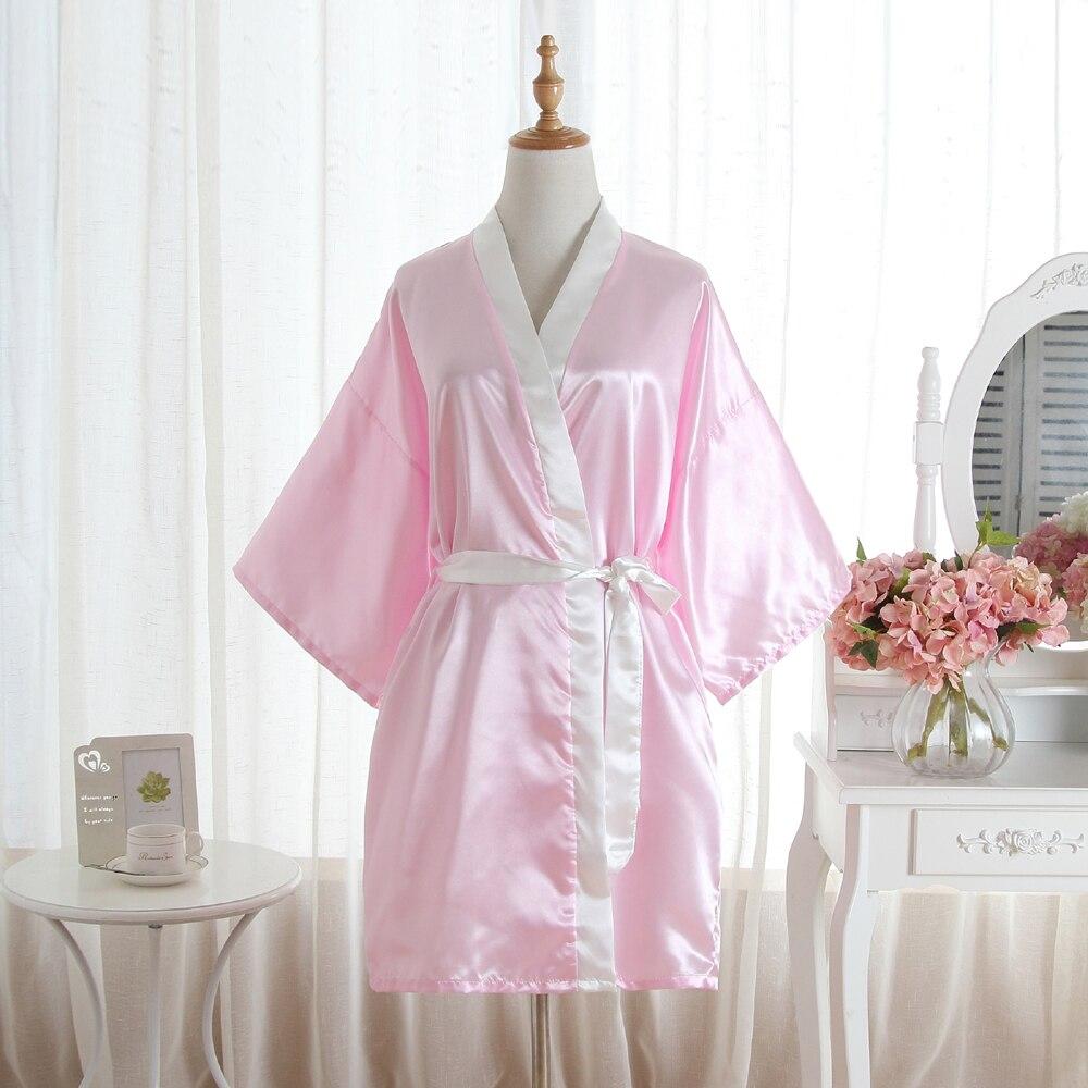 Plus Size Fashion Ladies Summer Short Kimono Mini Bath Robe Gown Pink Womens Rayon Yukata Nightgown Pijama Mujer Msf010