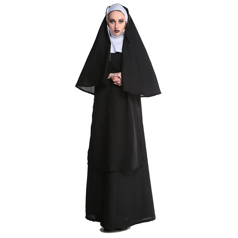 M XL New Virgin Mary Nuns Costumes for Women Sexy Long Black Nuns Costume Arabic Religion Monk Ghost Uniform Halloween Clothing