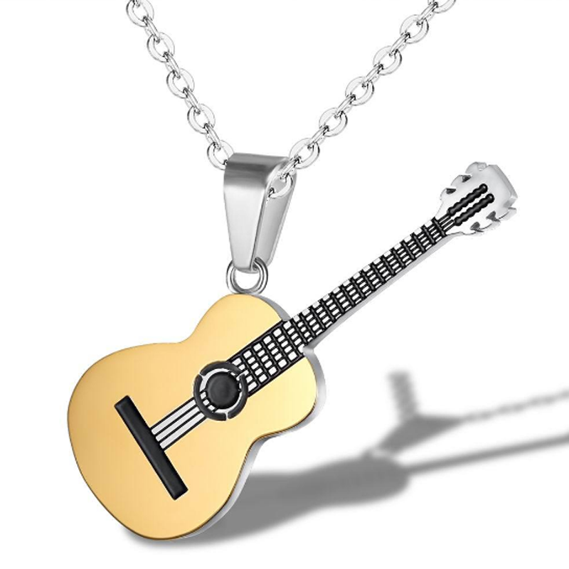 Creative Music <font><b>Guitar</b></font> Pendant <font><b>Necklace</b></font> <font><b>Titanium</b></font> <font><b>Steel</b></font> Punk Rock <font><b>Necklace</b></font> Link Chain Music Jewelry for Men Party Wedding Gift image