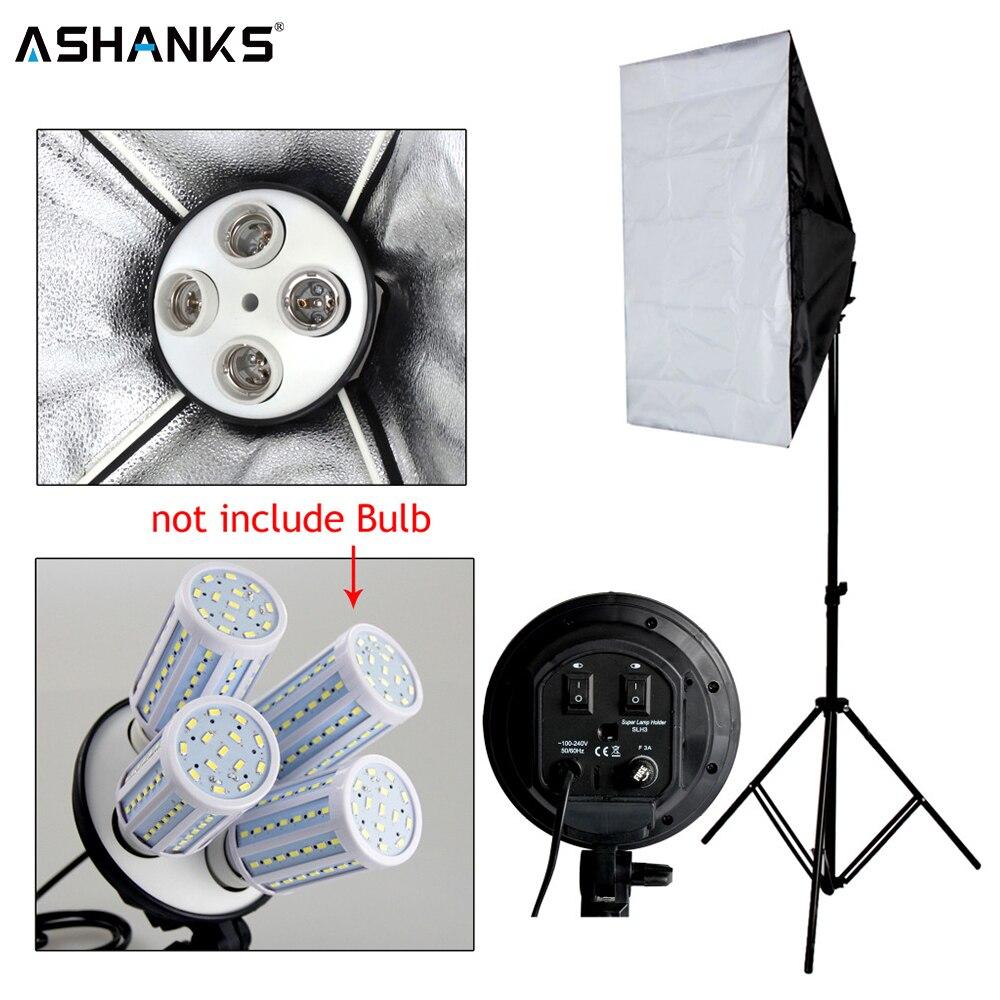 Photo Studio Kit Photography Lighting 4 Socket Lamp Holder + 50*70CM Softbox +2m Light Stand  Photo Soft Box