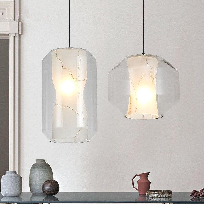 Post-modern Minimalist Glass Imitation Marble Chandeliers Creative Bedroom Coffee Shop Bar Restaurant LED lights Free Shipping