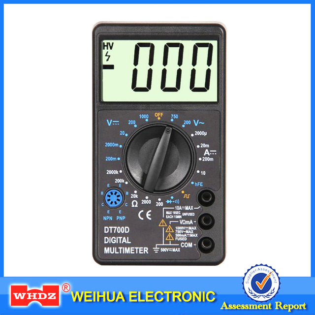 WHDZ DT700D Mini Digital Multimeter Large Screen Overload protection Buzzer Square Wave Output Ampere Voltage Ohm Tester Probe