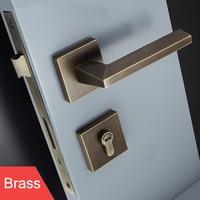 1Set Square Brass Door Lock Modernized Style Interior Door Bedroom Door Lock for 35 50mm Door with Key Lock JF1957