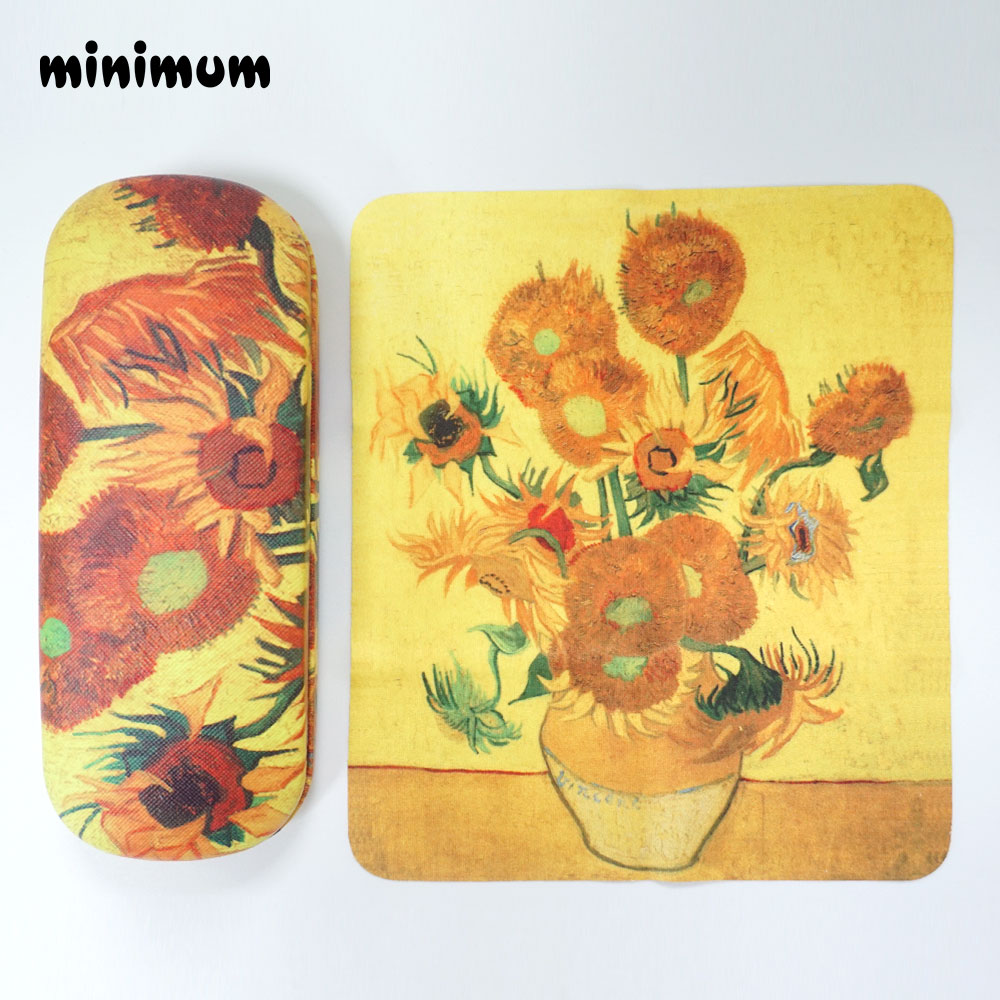 Sunflower Pattern Glasses Case Hard Frame Eyeglass Case Women Reading Glasses Box Black Spectacle Cases With 1pcs Glaases Cloth