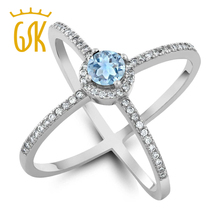 GemStoneKing 925 Sterling Silver Finger Rings 1.27 Ct Spherical Pure Sky Blue Aquamarine Marriage ceremony Bands Ring For Ladies