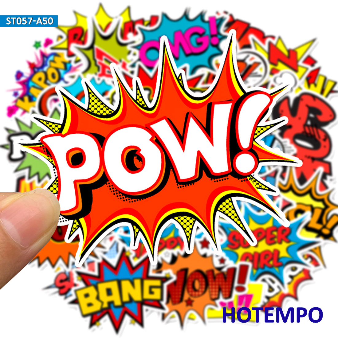 50pcs BAM POW Wow Boom Bang OMG Clouds From Explosion Stickers For Mobile Phone Laptop Luggage Guitar Case Skateboard Sticker
