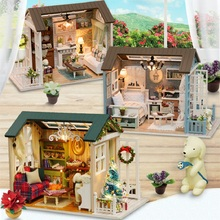 Diy 3D Children Handmade Wooden Doll Houses Toy Assemble Furniture Miniatura Miniature Mini House Led Light Home decoration