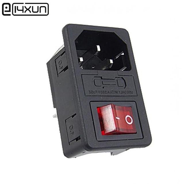 5pcs Red Light Power Rocker Switch Fused Iec 320 C14 Inlet