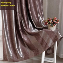 Custom Made Eurpean Style Blackout Curtain Blown Vertical Stripe Embossing Pattern Curtain Living Room Bedroom Window Treatment