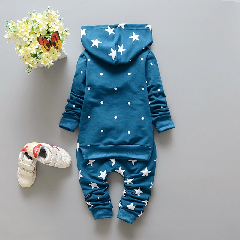 New Baby Sets Star Cotton Suits 2016 Infant Outerwear Spring Autumn Boys Clothes Pants Hooded Suit Hot Dot Tops Baby Clothing (10)