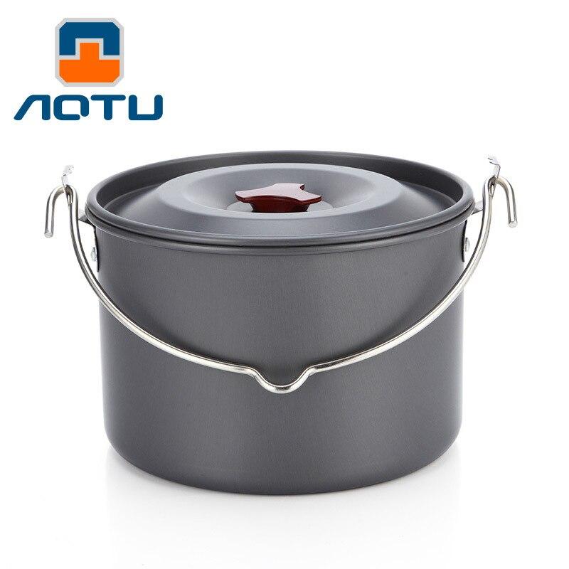 4L ultra-léger suspendus alumine Pot poêle en plein air Camping en aluminium bol tasse pour Camping ustensiles de cuisine pique-nique ensemble