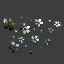 9 Sets Flower Pattern 3D Mirror Wall Sticker Acrylic Wall Stickers Creative Home Decor Room Decoration Wall Decor Decal