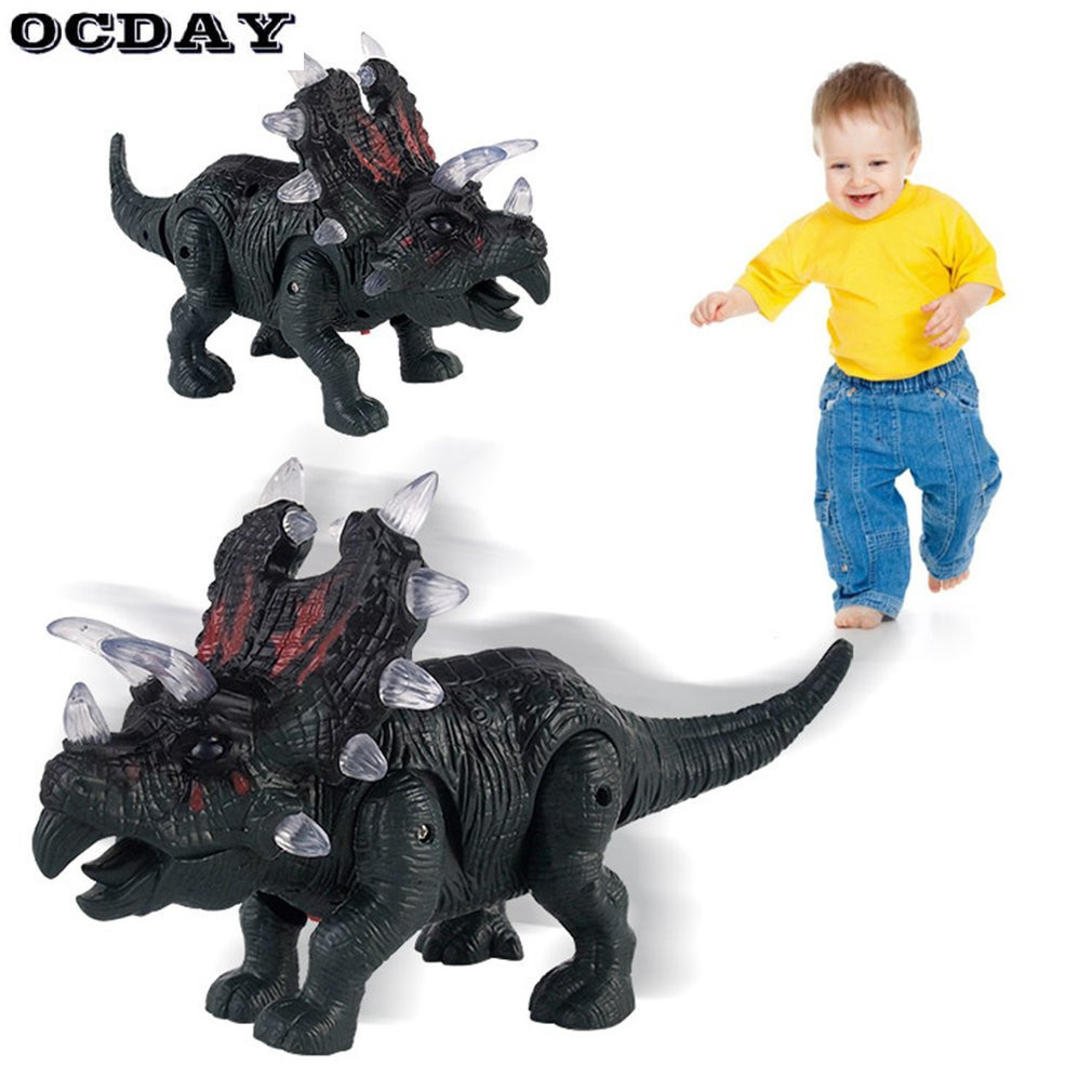 OCDAY Large Dinosaur Toy Light Sound Walking Simulation Electronic Triceratops Dinosaur Surprise Toys Gifts for Children