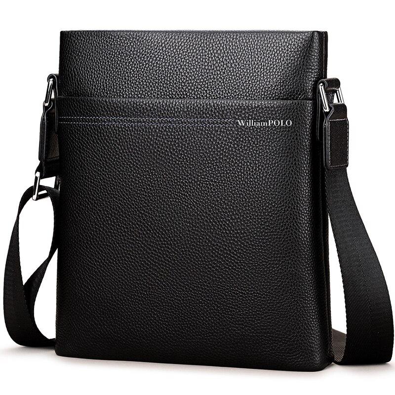 Bag Luxury Male Messenger Bag Shoulder Leather Handbags Bolsas Grande Black Leather Cowhide PL001D