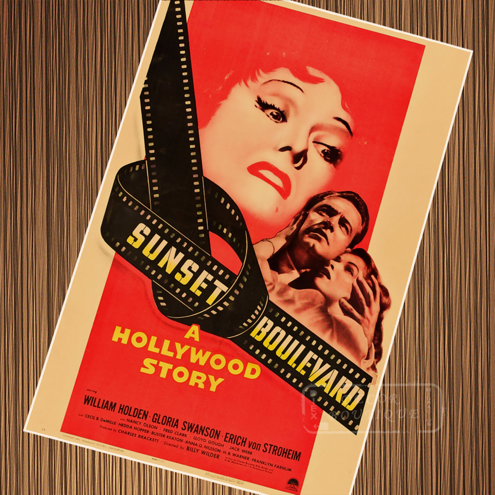 Sunset Boulevard Classic Movie Film Noir Retro Vintage Poster Canvas Painting DIY Wall Paper Home Decor Gift image
