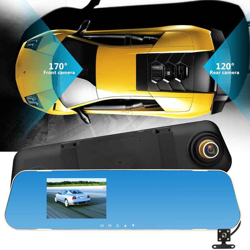 "2018 New V40 3.8"" Car DVR Dual Lens Camera HD 1080P Rear View Mirror Camera(China)"
