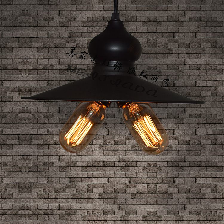ФОТО Edison Loft Vintage Style Metal Black Double Ceiling Pendant  Lamp Industrial E27 For Cafe Bar