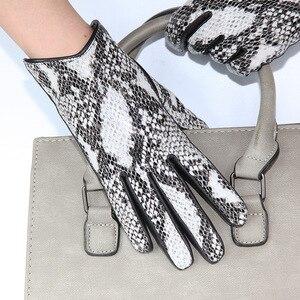 Image 1 - Guantes de piel auténtica para mujer, de piel de cordero importada con patrón de Pitón, terciopelo grueso, diseño de serpiente, conducción, LDL6116