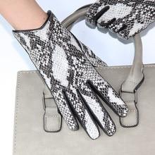 Hakiki deri kadın eldiven moda Python desen ithal postu eldiven artı kadife kalınlaşmak yılan desen sürüş LDL6116