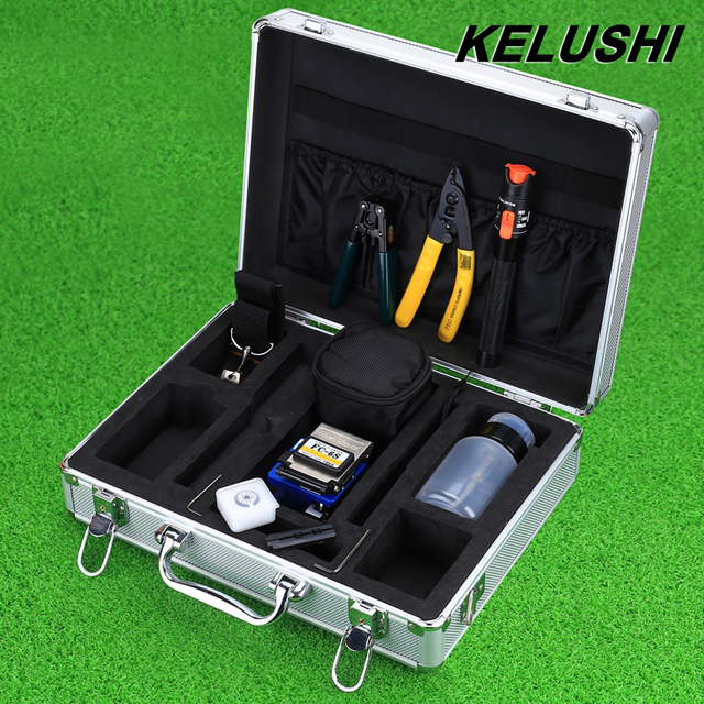 KELUSHI 16 IN 1 FTTH Tools KIT with Fiber Cleaver FC-6S and 10mW Visual Fault Locator Alcohol Bottles Airlaid Big Allen Wrench