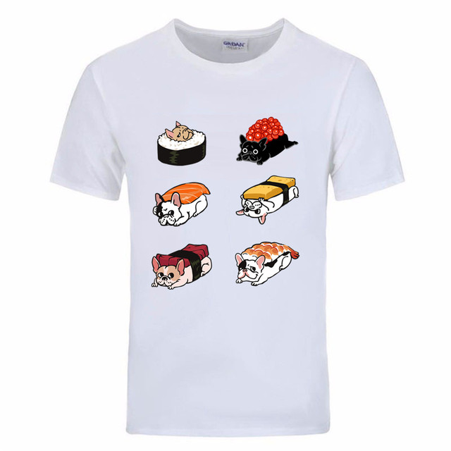 Frenchie Sushi 40 Birthday Mens T Shirts Cool Shirt Designs Geek Men Crew  Neck T