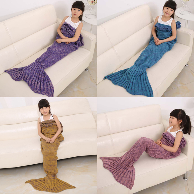 140cm Mermaid Blanket Knitted Mermaid Sleeping Bag Kids Sleeping Bag Knitted Blanket Sofa Wrap Sleeping Bag 4 Colors Available
