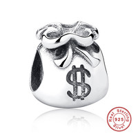 New Year Gift 925 Sterling Silver Small Beautiful Money Bags Charms Fit Bracelet Necklace Jewelry Accessories